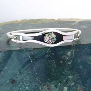 Mexican Bracelet Alpaca Silver Abalone Shell i31